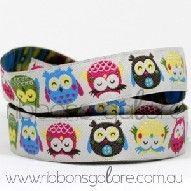 Ribbons Galore - owls on white ribbon (15mm wide) [per metre]