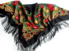 Wool scarf Pure Natural Authentic Pavlovo Posad Shawl Russian Style Silk fringe #WomensShawl #Accessories #RussianScarves #Fashion #Vintage #WomenScarf #PureWool #RussianStyle #NaturalFabrics #WoolenShawls #ALaRusse #PavlovoPosad #WinterWraps #FolkTraditions #BeautifulHandKerchief #WarmWrap