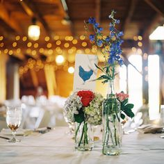 Love the blue chicken table numbers