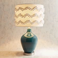 Pompom Table Lamp with Blue Glass Base