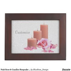 Shop Pink Rose & Candles Keepsake Box created by BlueRose_Design. Wooden Keepsake Box, Keepsake Boxes, Mahogany Color, Rose Candle, Black Velvet, Cyber, Colorful Backgrounds, Mall, Candles