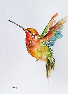 Watercolor Bird Painting, Original Watercolor Bird Art, Three Little Red Birds, Cute Animal Painting inch Watercolor Fish, Watercolor Animals, Watercolor Flowers, Watercolor Paintings, Tattoo Watercolor, Oil Paintings, Watercolor Hummingbird, Simple Watercolor, Indian Paintings