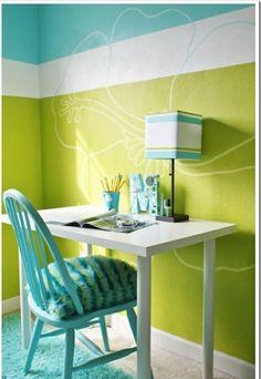 Kinderzimmer junge wandgestaltung grün blau  wandbemalung-kinderzimmer-hell-blau-grün-und-weiß- bunte ...