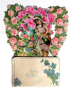 ANTIQUE VALENTINE CARD  GIRL WATERING ROSES
