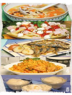 1 - Sopa de Abóbora; 2 - Penne Misto com Molho de Tomate; 3 - Arroz de Frango à Espanhola; 4 - Carapaus Grelhados com Molho à Espanhola; 5 - Baba de Camelo
