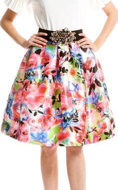 Gracia Pink Rose Printed Pleated Full Skirt