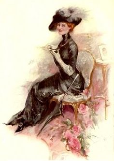 Victorian Lady | victorian lady in black dress having tea elegant tea party