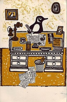 """John Griffiths's illustration from the Penguin book """"Twenty-Five Years"""", 1960"""