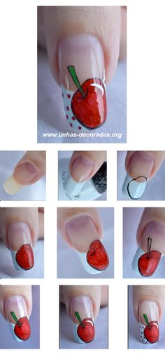 Tutorial Apple Nail Design....not that I'd ever do it...but it's cute!