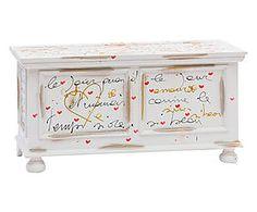 Cassapanca a ribalta con poesia in legno bianca - 99x51x44 cm