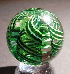 JAMES ALLOWAY **** 1 3/4 inch Green Latticino Contemporary Art Glass Marble 2006
