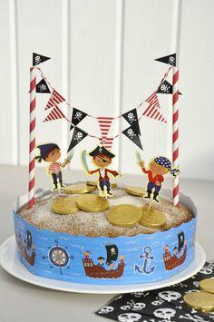 Kit para tarta de cumpleaños Isla de los piratas