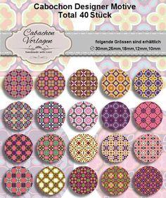 40 Cabochon Vorlagen Kreis Rund Download CA063 von Vintage Styler auf DaWanda.com