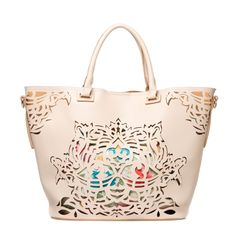 Frannie -Laser-cut faux-leather tote with detachable fabric, zippered pouch and gold hardwa