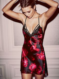 Red roses AND smooth satin? This racy little slip is actually super romantic. <3 | Victoria's Secret Satin Low-back Slip