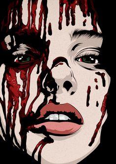 Carrie // remake by cranio dsgn, illustrations in 2019 Arte Horror, Horror Art, Horror Movies, Carrie White, Arte Obscura, Maquillage Halloween, Creepy Art, Arte Pop, Dark Fantasy Art