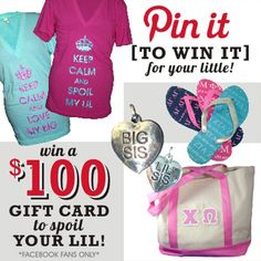 """Pin It To Win It For Your Little Contest! The winner gets a $100 gift card to spoil their lil sis!  To enter the contest, follow these 2 easy steps!   1. Follow Greek U on Pinterest   2. Go to our """"Big/Little LOVE"""" Board  (pinterest.com/...) and repin our lil sis gifts – every repin enters you into the drawing for a $100 gift card!    Hurry! You only have until Tuesday, October 23rd to repin! The winner will be announced on Face"""
