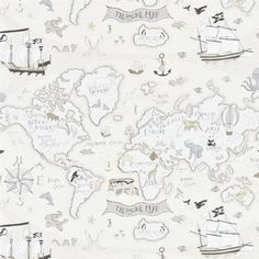 Treasure Map Wallpaper A delightful children's wallpaper featuring a whimsical design of the continents and oceans portrayed as treasure map, complete with pirate ships, native flora and wildlife and the obligatory treasure chest, brimming with booty. Printed in neutral colours on a cream background.