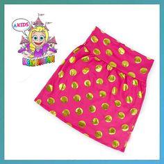 Girls gold pink polkadot skirt pencil skirt by AKidsDreamBoutique