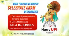 Celebrate Onam with Weberge. Onam Mega Offer WordPress website @ Rs, 24999/- with a Free Android app.Offer ends in 1 day. Hurry! #onamoffer #limitedtime