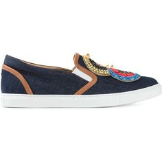 Dsquared2 Sequin Denim Slip-on Sneakers ($259) ❤ liked on Polyvore featuring shoes, sneakers, blue, blue flat shoes, blue sneakers, blue denim shoes, blue shoes and dsquared2 shoes