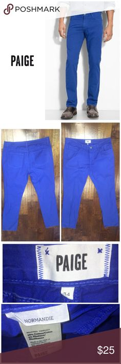 "Paige Men's ""Normandie"" pants - blue Size 34.  Color - blue. Material - 98% cotton 2% elastane . In great condition . PAIGE Pants Chinos & Khakis"