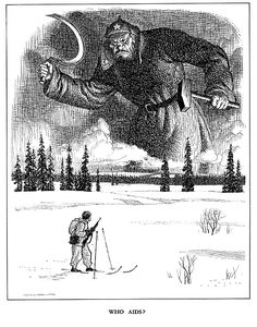 """""""Who aids?"""" - 1940 Punch Cartoon on the Soviet invasion of Finland - pin by Paolo Marzioli Army Memes, Art Vintage, History Memes, Story Inspiration, Dieselpunk, Military History, Decoration, Troll, Historia"""