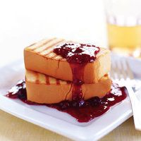 Rachael Ray's Grilled Pound Cake with Warm Berry Sauce | rachaelraymag.com