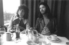 Marc Bolan & BP Fallon London Photography by Barrie Wentzell ___ I like the collar on Marc Bolan's shirt. Marc Bolan, British Rock, Hair Reference, T Rex, Drinking Tea, Album Covers, My Love, Photography, Tea Time