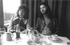 Marc Bolan & BP Fallon London 1970. Photography by Barrie Wentzell ___ I like the collar on Marc Bolan's shirt.