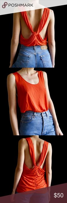 86da4f0208445 Shop Women s Acne Orange size M Tank Tops at a discounted price at  Poshmark. Description  Tangerine ACNE draped back tank top. Sold by  mayasommer.