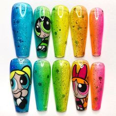 Disney Nail Designs, Nail Art Designs Videos, Best Nail Art Designs, Dope Nails, Swag Nails, Nail Manicure, Gel Nails, Food Nail Art, Graffiti Nails