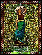 George A. Schastey collaborated with John La Farge in incorporating the many stained-glass windows for Arabella Worsham's house at 4 West Fifty-Fourth Street. This example presents a young woman in Grecian robes as an allegory of Evening