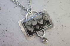 Sterling Silver Necklace Pendant with Ambrotype Image on Glass and Quartz Crystal Drop by: Angie Brockey