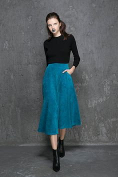 Blue skirt maxi corduroy skirt 1343 by xiaolizi on Etsy
