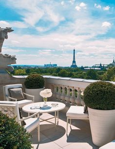 Hôtel de Crillon's Suite Bernstein has a 1,205-square-foot private terrace overlooking Place de la Concorde and the Eiffel Tower