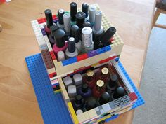 Lego Nail Polish Storage... That would be so cool, except I have WAY too many nail polish bottles to fit!