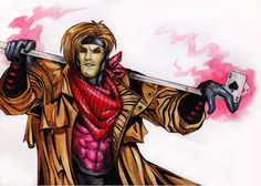 """""""Gambit"""" Acrylic paint by Flopy Valhala #character #design #illustration #drawing #comics #conceptart #flopy #valhala #gambito #gambit #x-men #acrylic"""