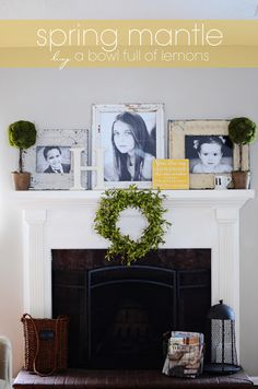 Simple everyday mantel...photos, topiary, wood initial letter, wreath