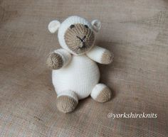 Hand Knitted Sheep Lamb Ewe stuffed toy by HandKnittedYorkshire