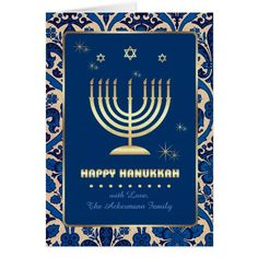 Happy Hanukkah. Star of David and Menorah Design Customizable Hanukkah  Greeting Cards / Hanukkah Celebration  Invitation Cards with personalized names and text. Matching cards, postage stamps and other products available in the Jewish Holidays / Hanukkah Category of the Mairin Studio store at zazzle.com