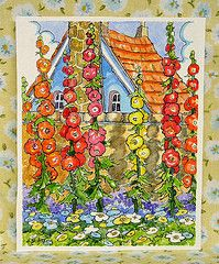 Hollyhocks - A great cottage garden flower. Thanks to @Lynda Aplin, her red roof board introduced me to this charming art work. This series of garden flowers is among my favorite.
