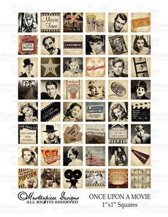 Once Upon A Movie / Hollywood / Actors / Vintage - 1x1 Inch Square Tiles Digital JPG Collage Sheet.