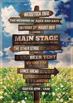 festival signpost themed wedding table and seating plan -Sam and Euan must have this!!