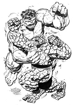 Hulk Vs Thing commission by John Byrne. Comic Book Artists, Comic Artist, Comic Books Art, Hulk Marvel, Marvel Art, Avengers, Marvel Comics, Mister Fantastic, Comic Pictures