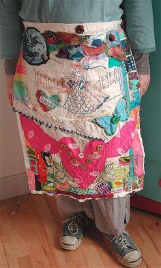 Vintage LOVE Altered Fabrics APRON &/or Folk Art QUILT Collage Assemblage.