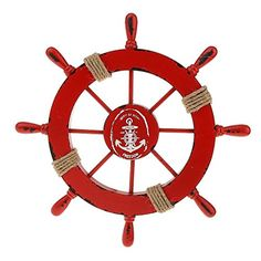 Ximkee Nautical Beach Wooden Boat Ship Steering Wheel Fishing Net Shell Home Wall Decor White Fish Red ** Want to know more, click on the image. Note:It is Affiliate Link to Amazon.
