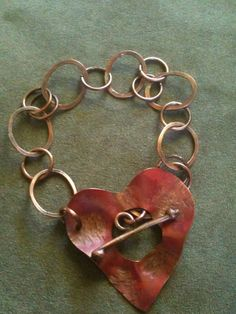 Wire wrapped Copper Bracelet with Heart Toggle by StampChickArt