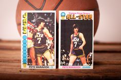 "Vintage 1976-77 Topps ""Pistol"" Pete Maravich Basketball Trading Cards #60 & #130, NBA, New Orleans Jazz"