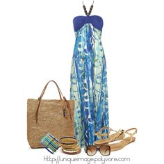 """""""Blue Patterned Maxi"""" by uniqueimage on Polyvore"""